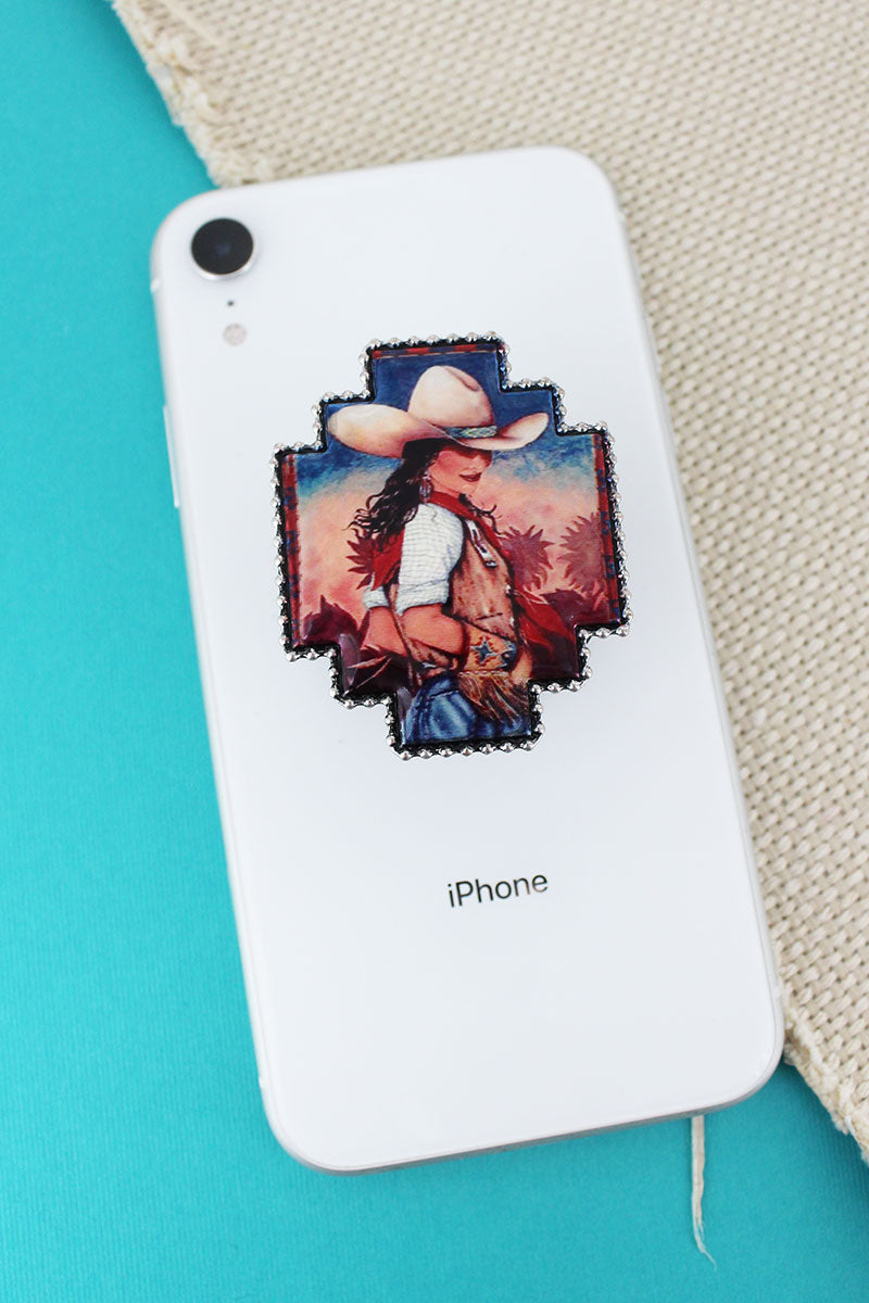 Cowgirl Flair Portrait Print Cell Phone Grip Cover