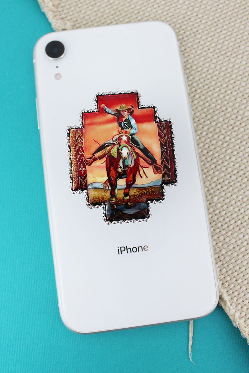 Galloping Cowgirl Portrait Print Cell Phone Grip Cover