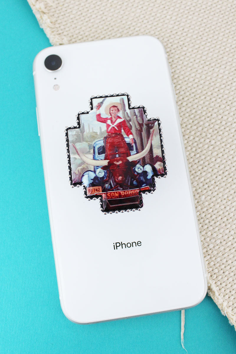 Cowgirl Car and Bison Portrait Print Cell Phone Grip Cover
