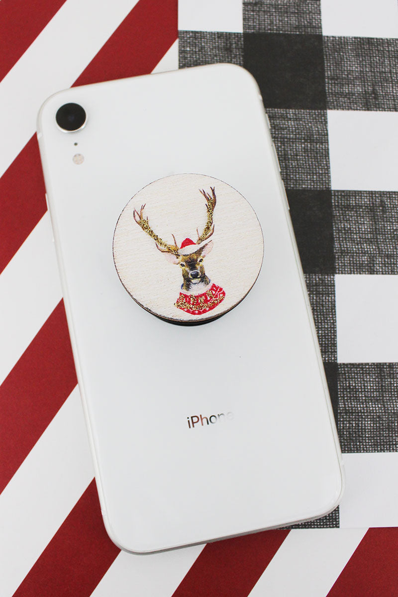 Glitter Reindeer Wood Cell Phone Grip Cover