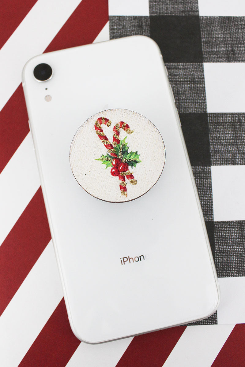 Glitter Candy Cane Wood Cell Phone Grip Cover