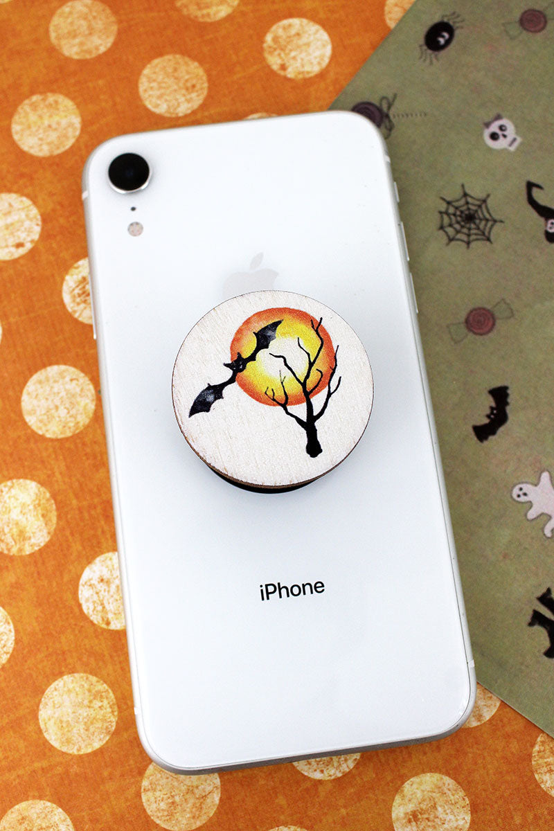 Bat Flying By Full Moon Wood Cell Phone Grip Cover