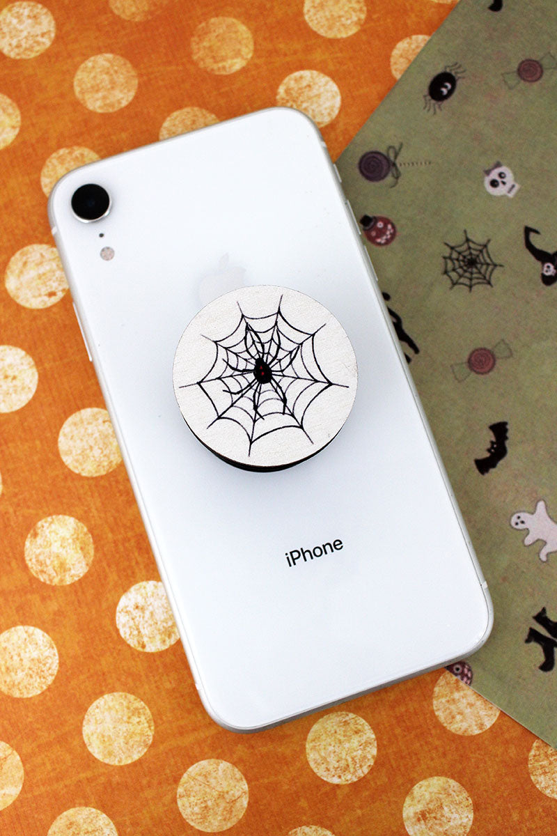 Spider On Web Wood Cell Phone Grip Cover