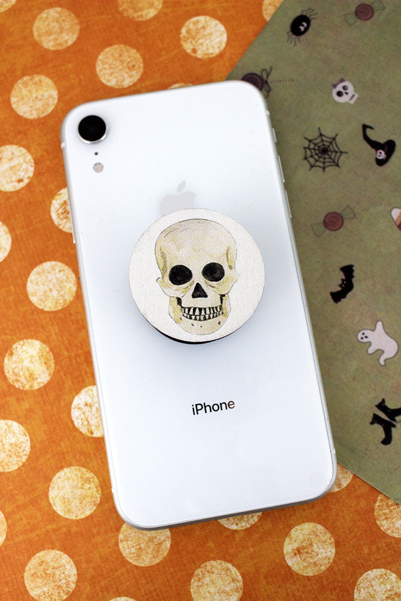 Skull Wood Cell Phone Grip Cover