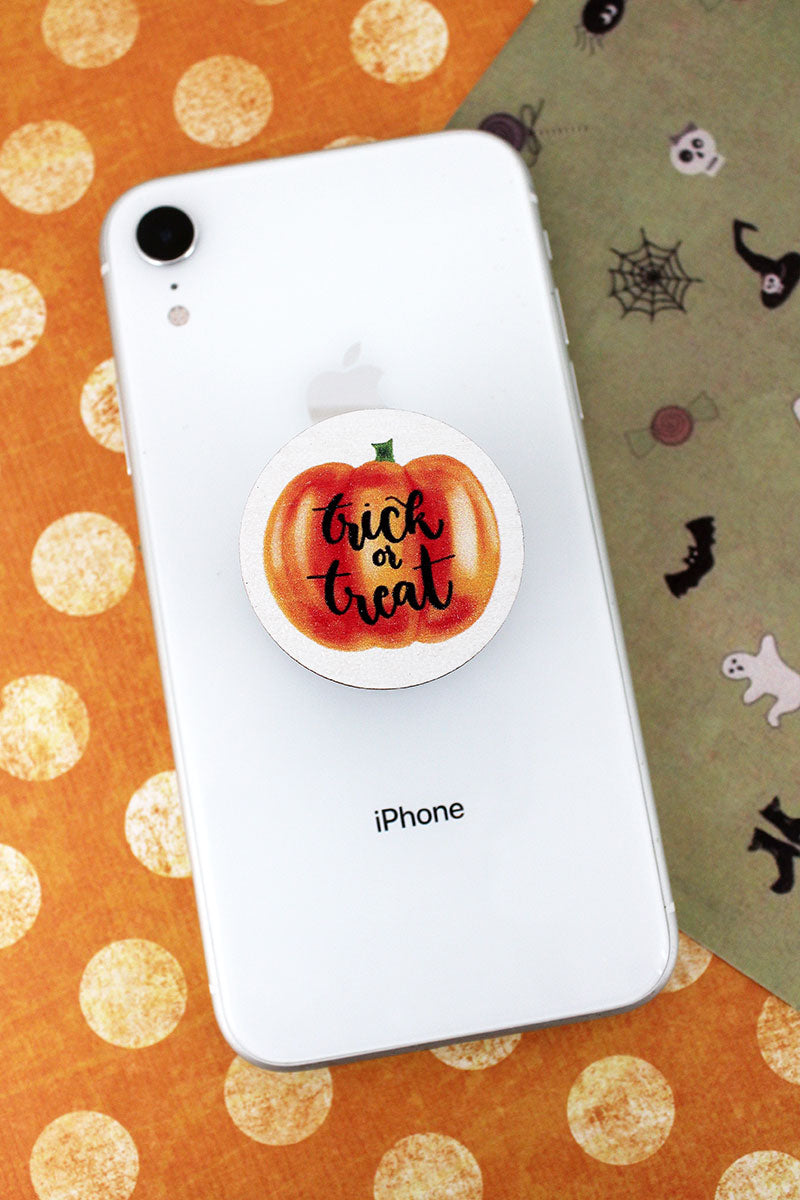 Trick Or Treat Pumpkin Wood Cell Phone Grip Cover