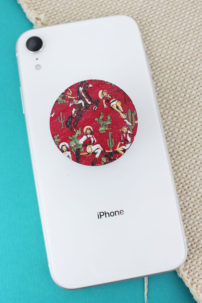 Cowgirl Pinups Red Wood Cell Phone Grip Cover
