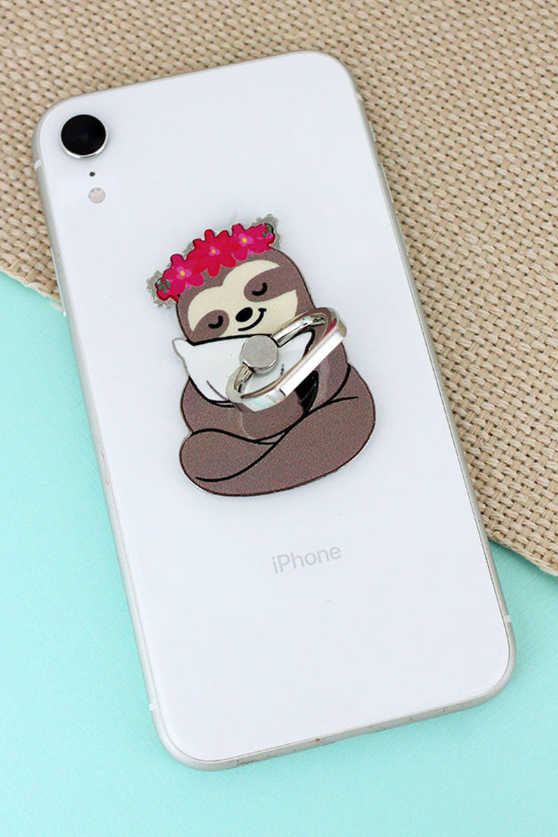 Sleepy Floral Sloth Cell Phone Finger Grip & Stand