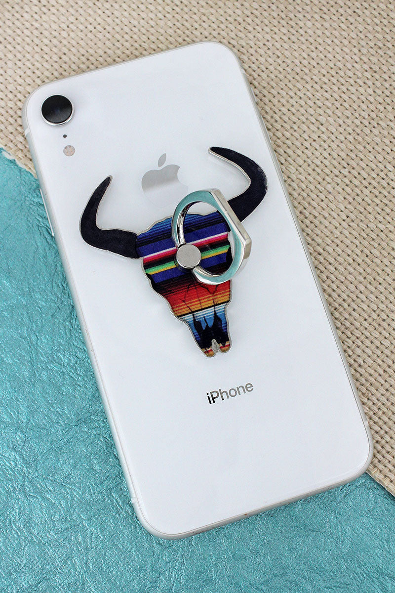 Serape Steer Skull Cell Phone Finger Grip & Stand