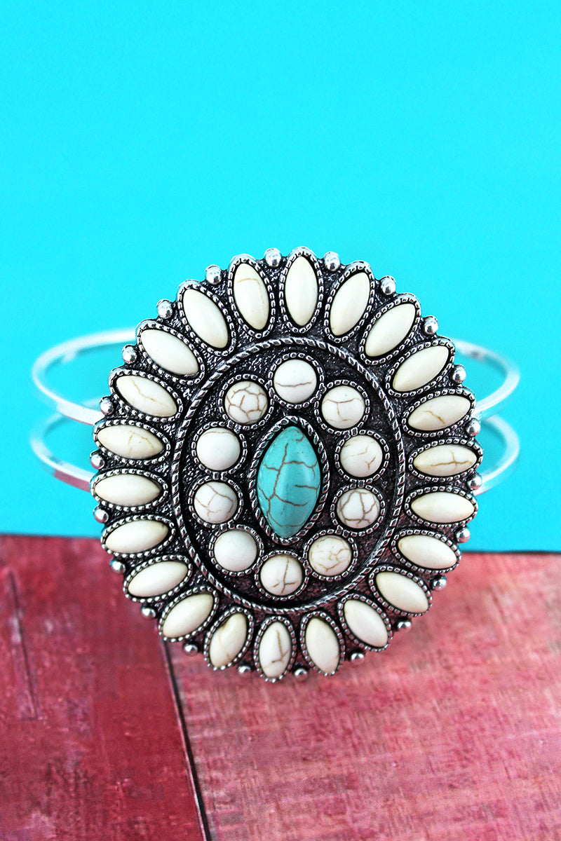 Western White and Turquoise Beaded Oval Concho Hinge Bracelet