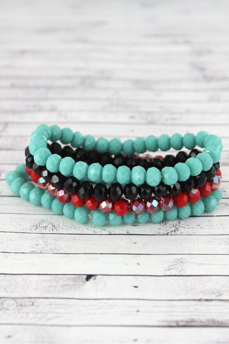 Turquoise Multi-Color Faceted Bead Stretch Bracelet Set