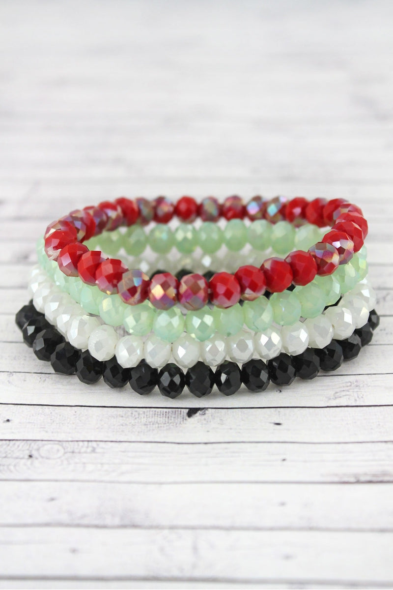 Red and Black Multi-Color Faceted Bead Stretch Bracelet Set