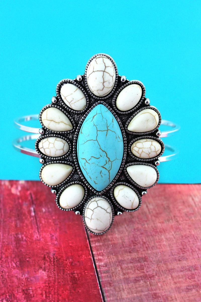 Western White and Turquoise Beaded Marquise Hinge Bracelet
