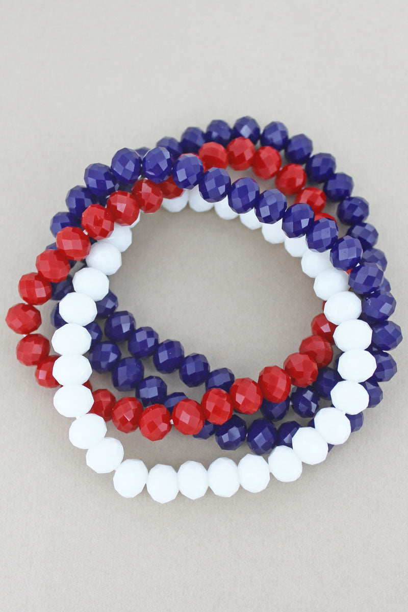 Americana Faceted Bead Stretch Bracelet Set