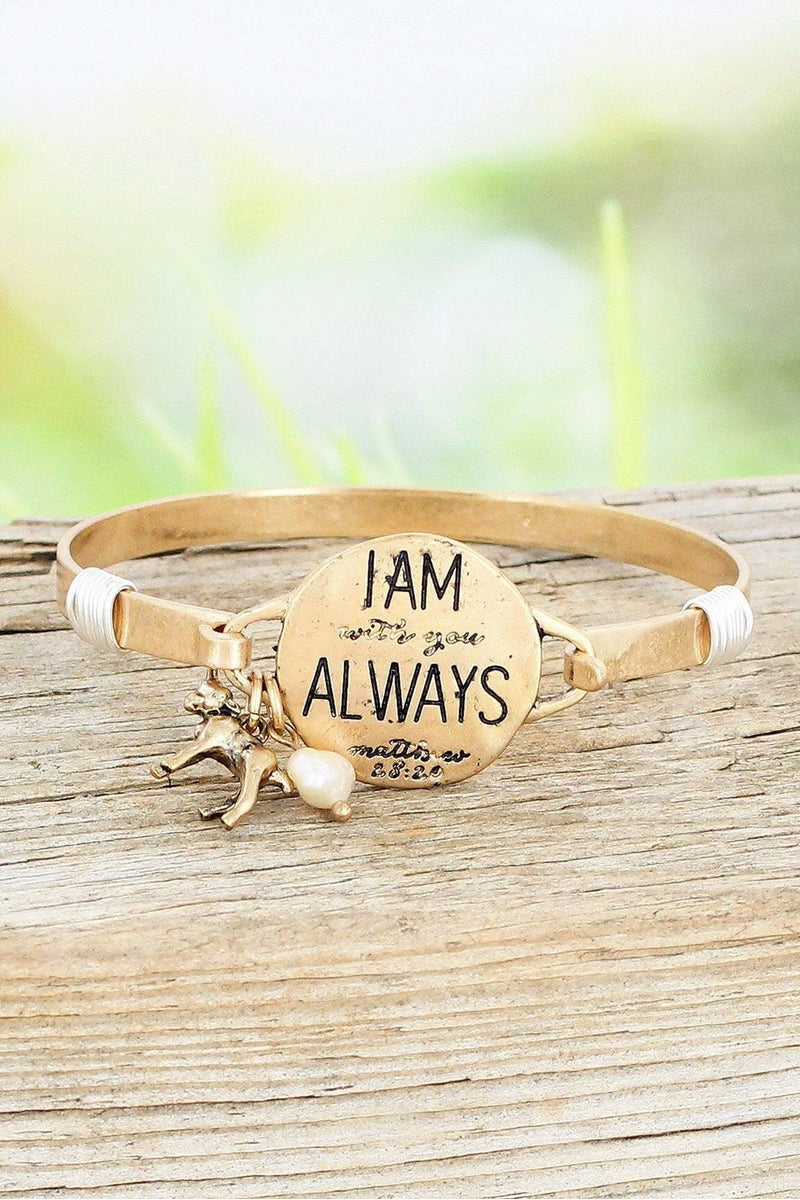 Worn Goldtone 'I Am With You Always' Bracelet