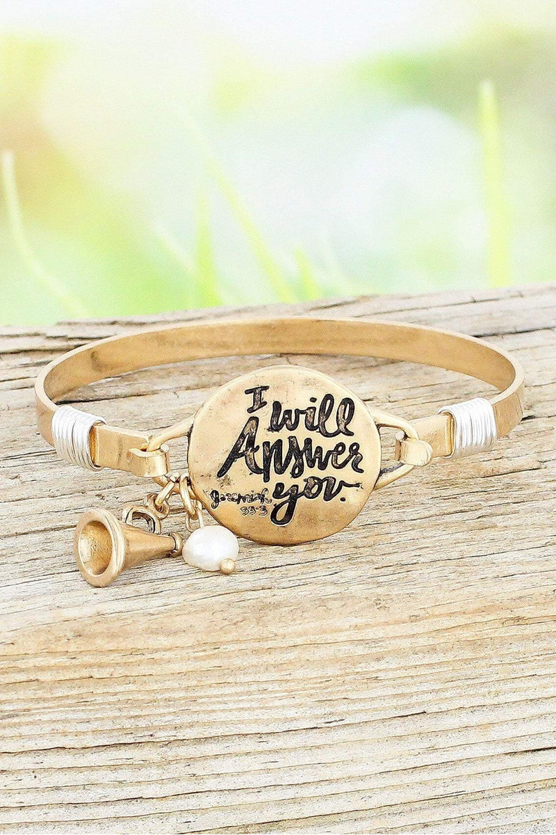 Worn Goldtone 'I Will Answer You' Bracelet