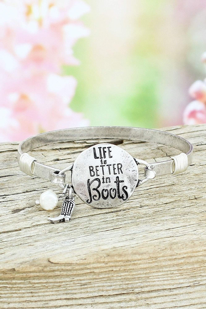 Burnished Silvertone 'Life Is Better In Boots' Bracelet