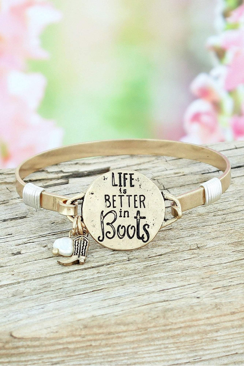 Worn Goldtone 'Life Is Better In Boots' Bracelet