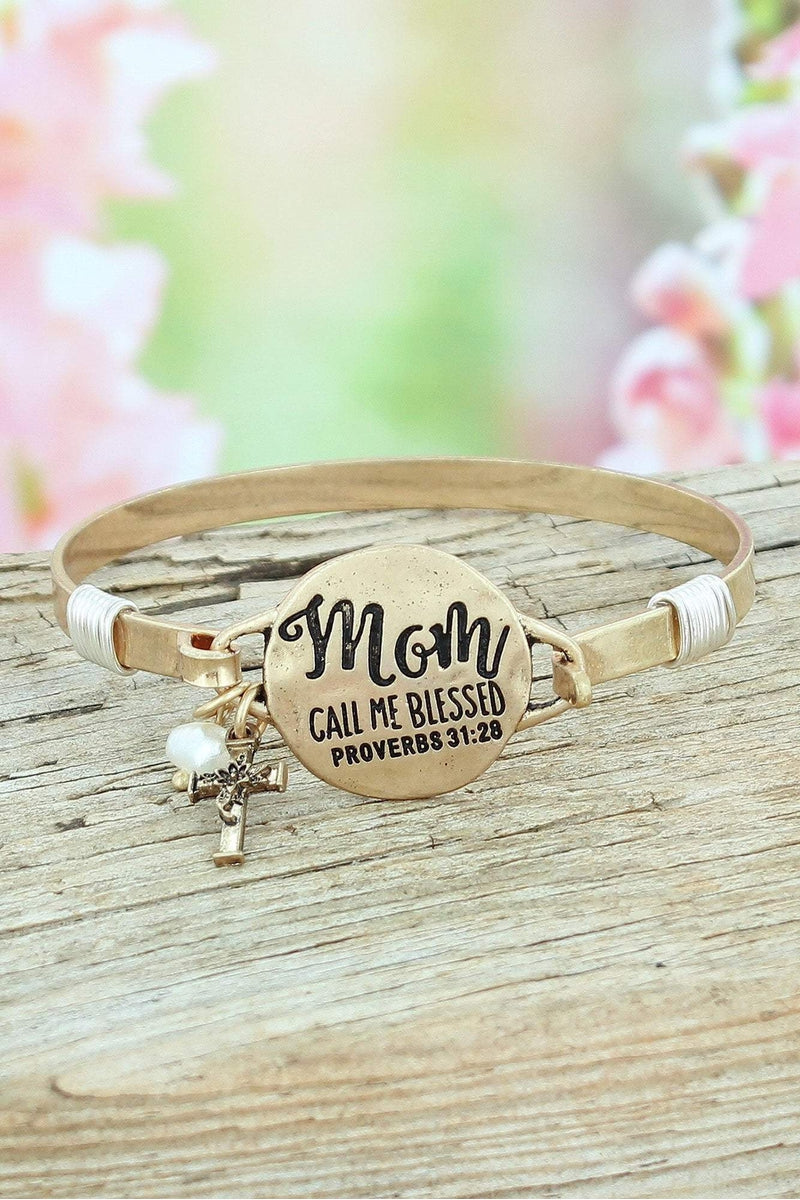 Worn Goldtone 'Mom Call Me Blessed' Proverbs 31:28 Bracelet