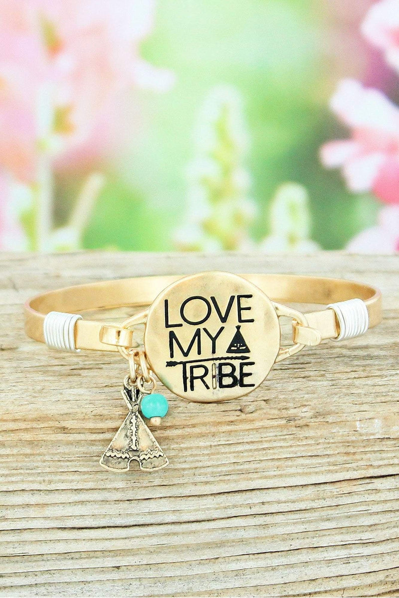 Worn Goldtone 'Love My Tribe' Bracelet