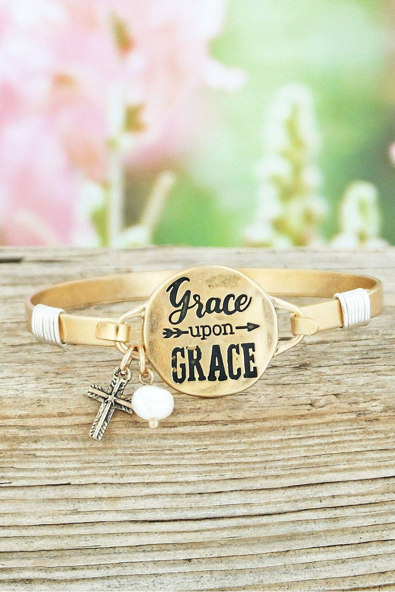 Worn Goldtone 'Grace Upon Grace' Bracelet