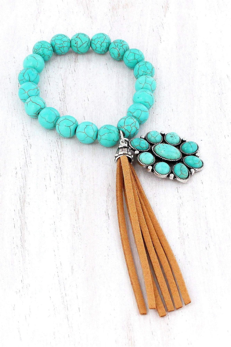 Turquoise Beaded Burnished Silvertone Concho Tassel Bracelet