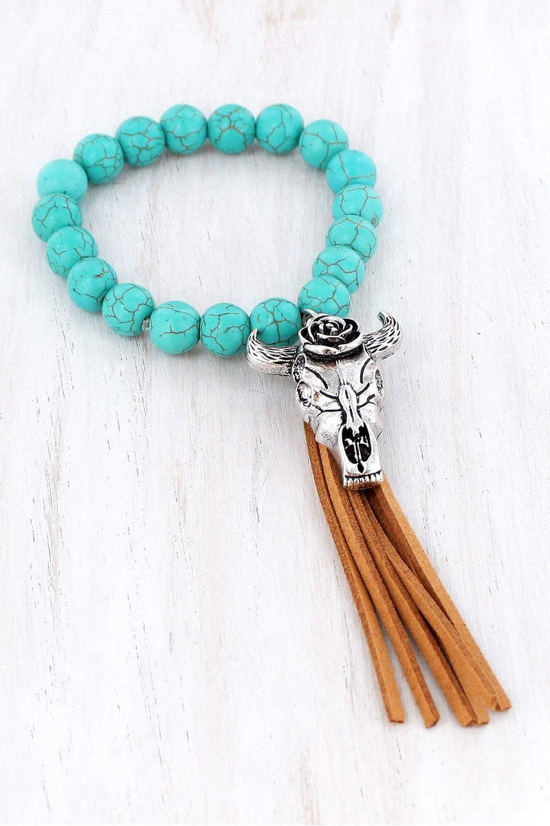 Burnished Silvertone Steer Head Skull Tassel Turquoise Beaded Bracelet