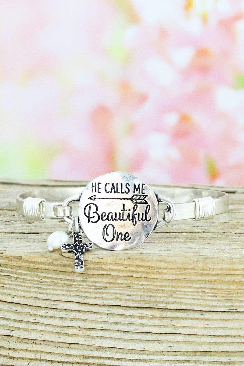 Burnished Silvertone 'He Calls Me Beautiful One' Bracelet