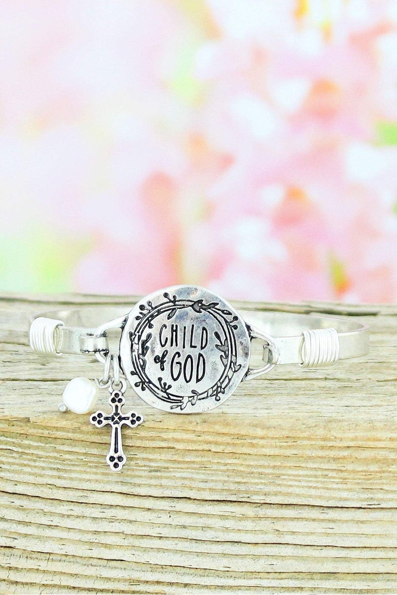 Burnished Silvertone 'Child of God' Bracelet