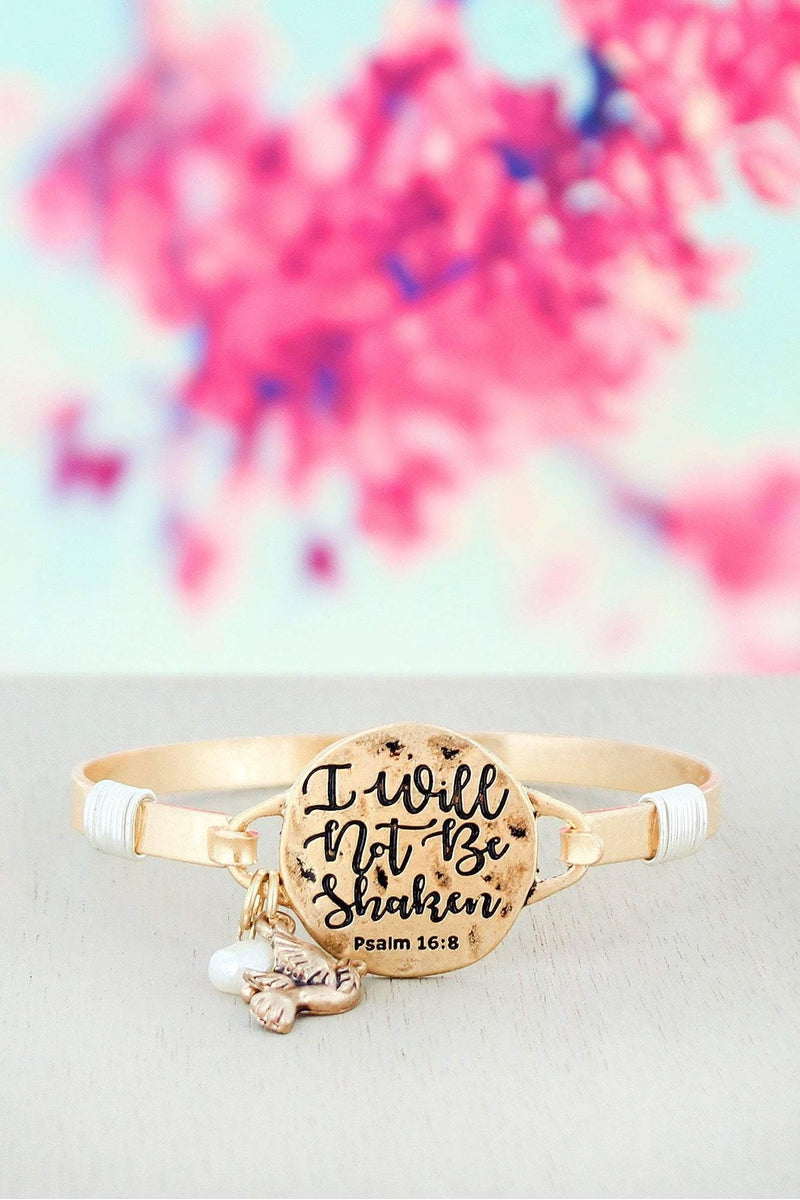 Worn Goldtone \'I Will Not Be Shaken\' Bracelet | Wholesale Accessory ...