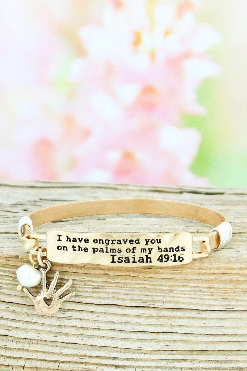 Worn Goldtone Isaiah 49:16 Bar Bracelet