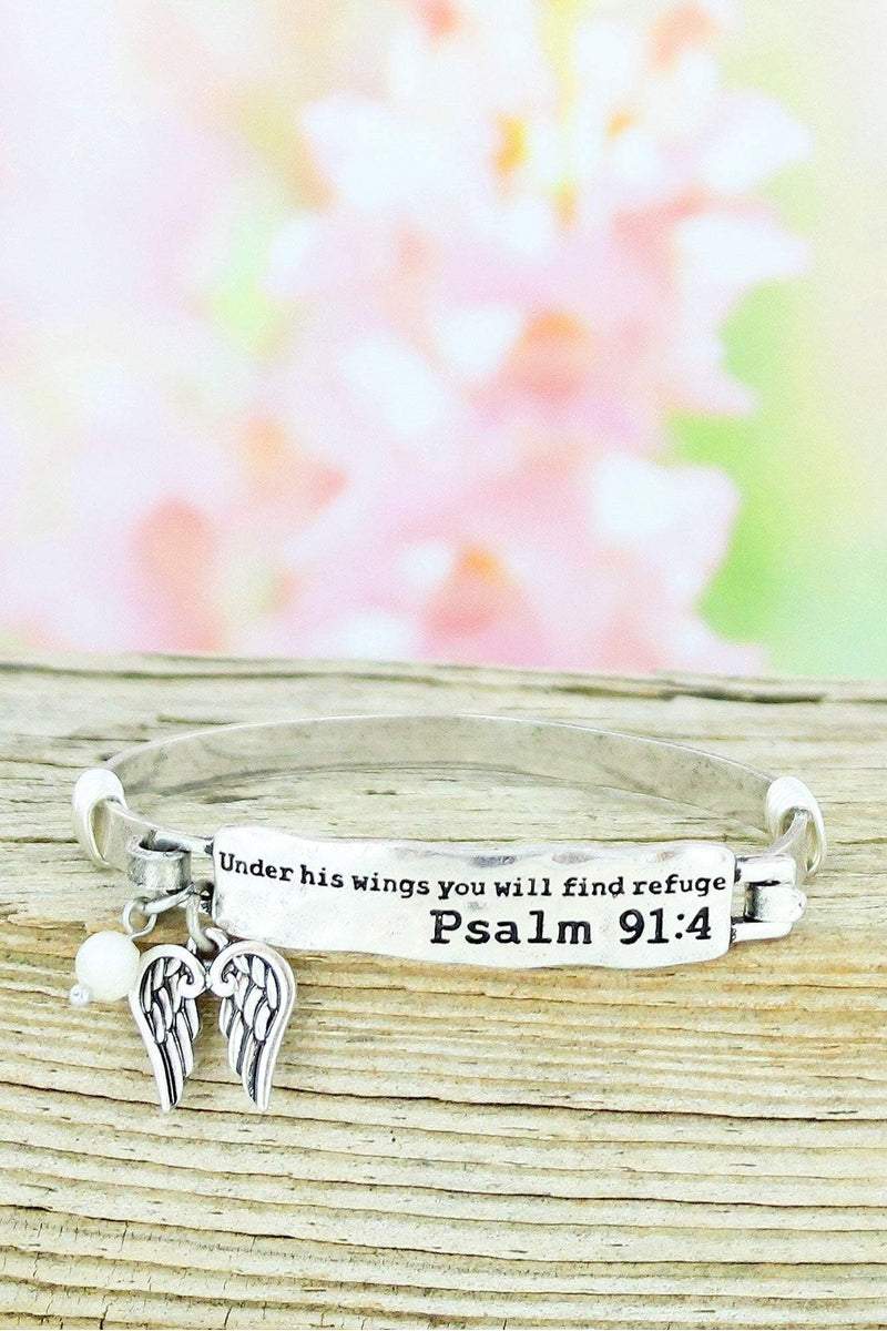 Burnished Silvertone Psalm 91:4 Bar Bracelet
