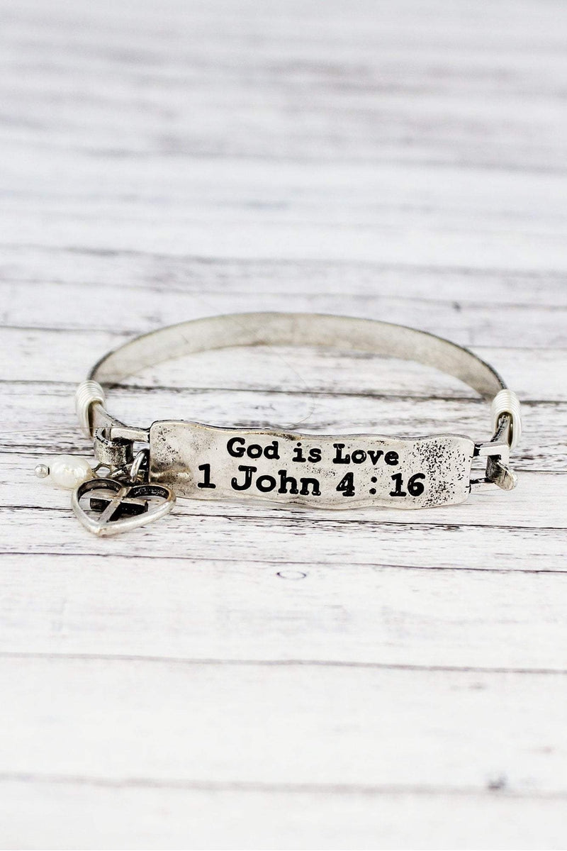 Burnished Silvertone 1 John 4:16 Bar Bracelet
