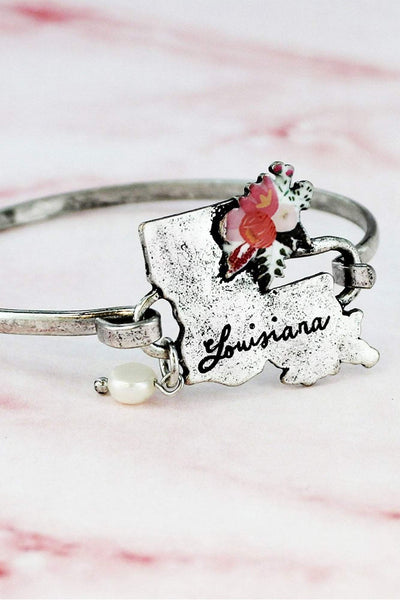 Flower Bouquet Burnished Silvertone Louisiana Bracelet