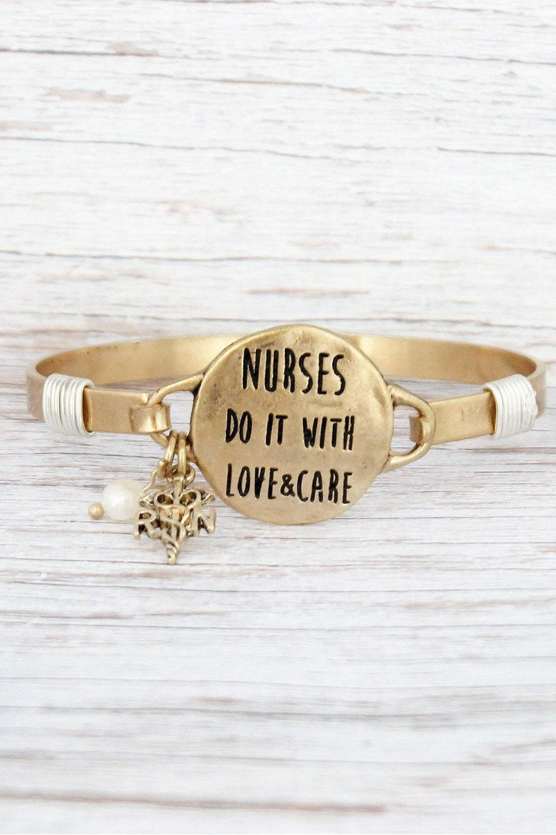 Worn Goldtone 'Love & Care' Nurse Bracelet