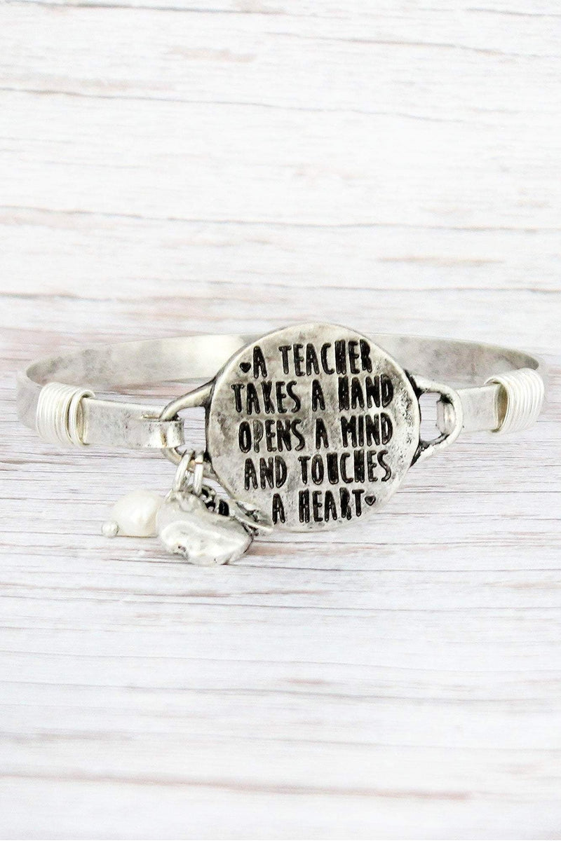Burnished Silvertone 'Touches a Heart' Teacher Bracelet
