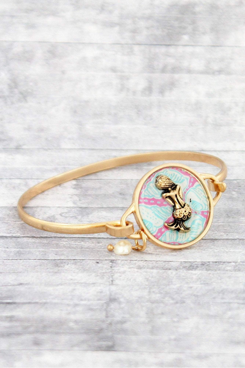 Worn Goldtone Mermaid Disk Bracelet