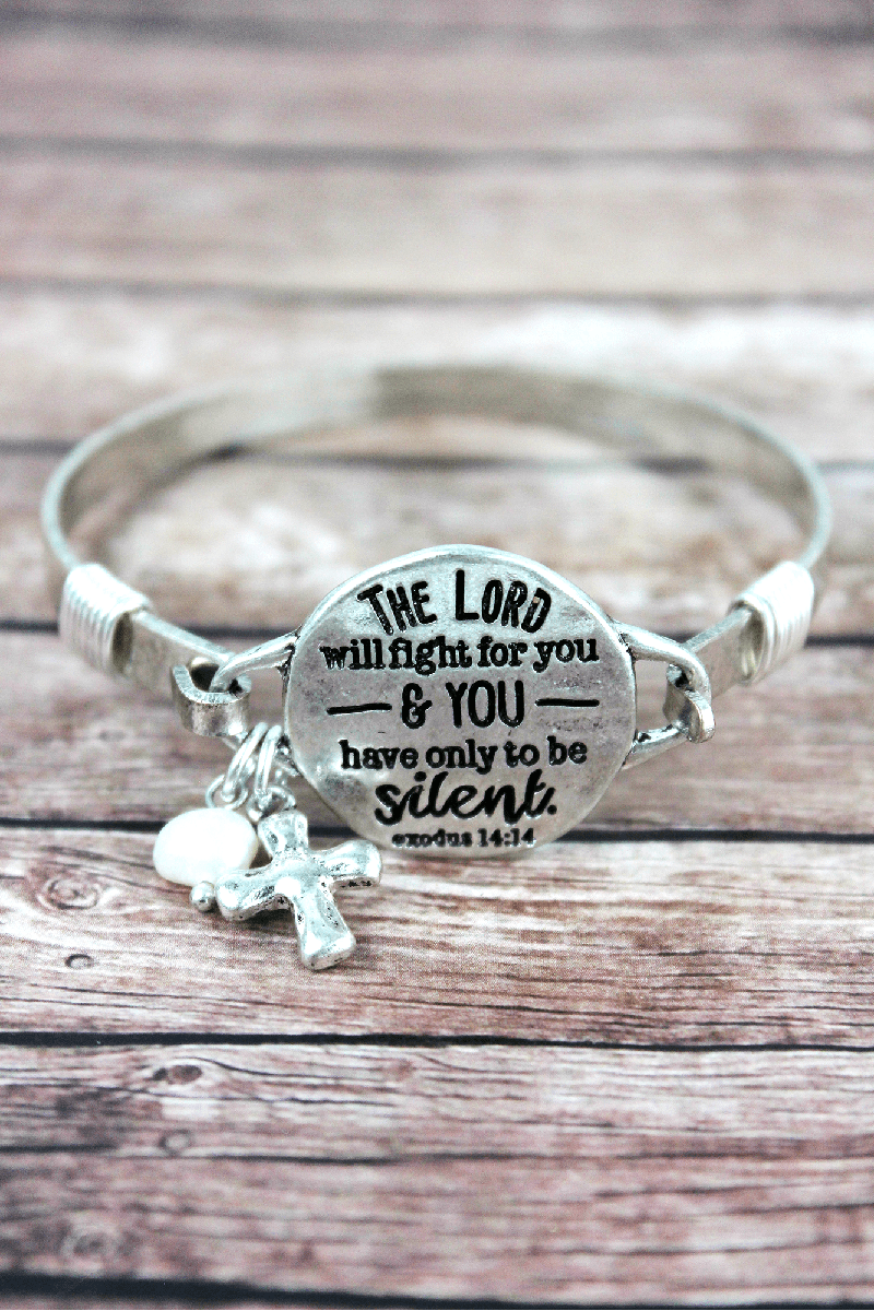 Burnished Silvertone 'The Lord Will Fight For You' Bracelet