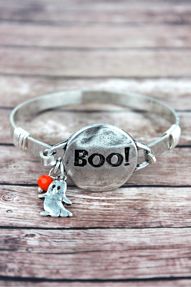 Burnished Silvertone 'Boo!' Halloween Bracelet
