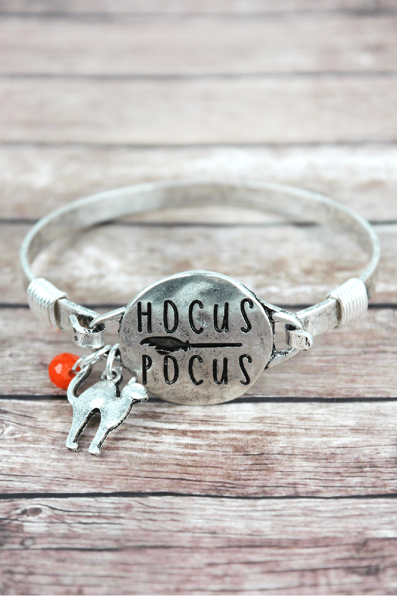 Burnished Silvertone 'Hocus Pocus' Halloween Bracelet