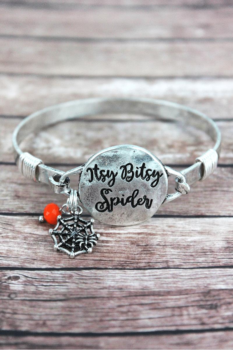 Burnished Silvertone 'Itsy Bitsy Spider' Halloween Bracelet