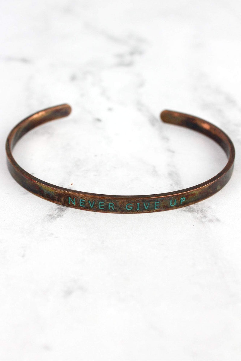 Patina Coppertone 'Never Give Up' Cuff Bangle
