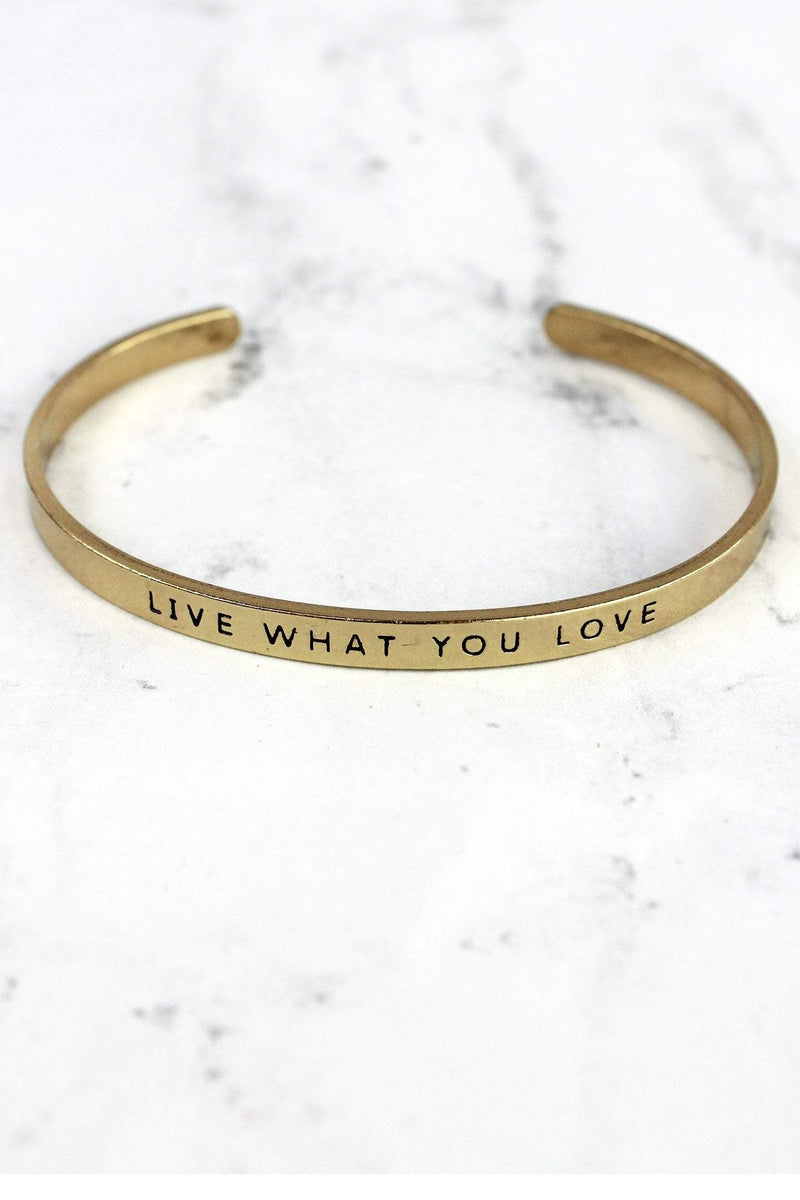 Antique Goldtone 'Live What You Love' Cuff Bangle