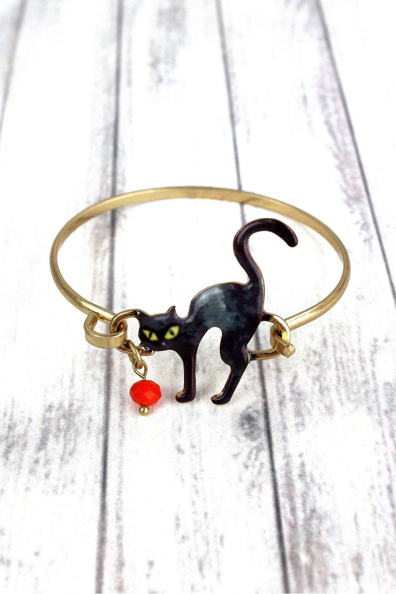 Black Cat Goldtone Bracelet