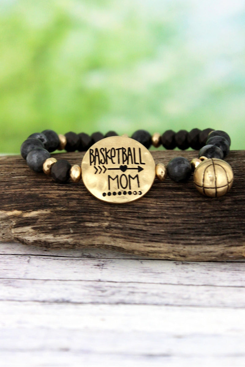 Worn Goldtone 'Basketball Mom' Black Beaded Stretch Bracelet