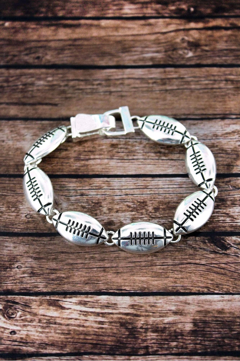 Silvertone Football Magnetic Bracelet