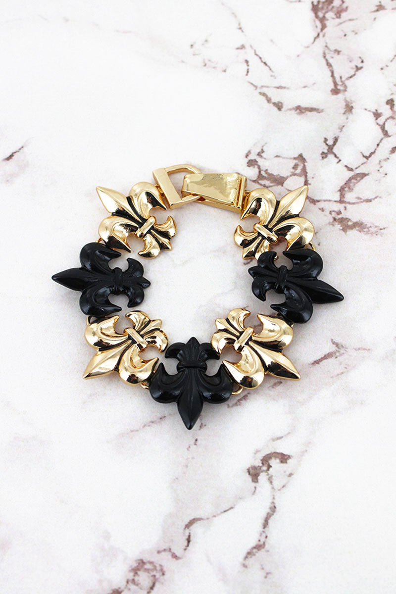 Goldtone and Black Fleur de Lis Magnetic Bracelet