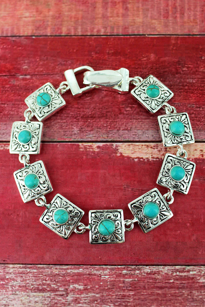 Turquoise Beaded Silvertone Scroll Square Magnetic Bracelet