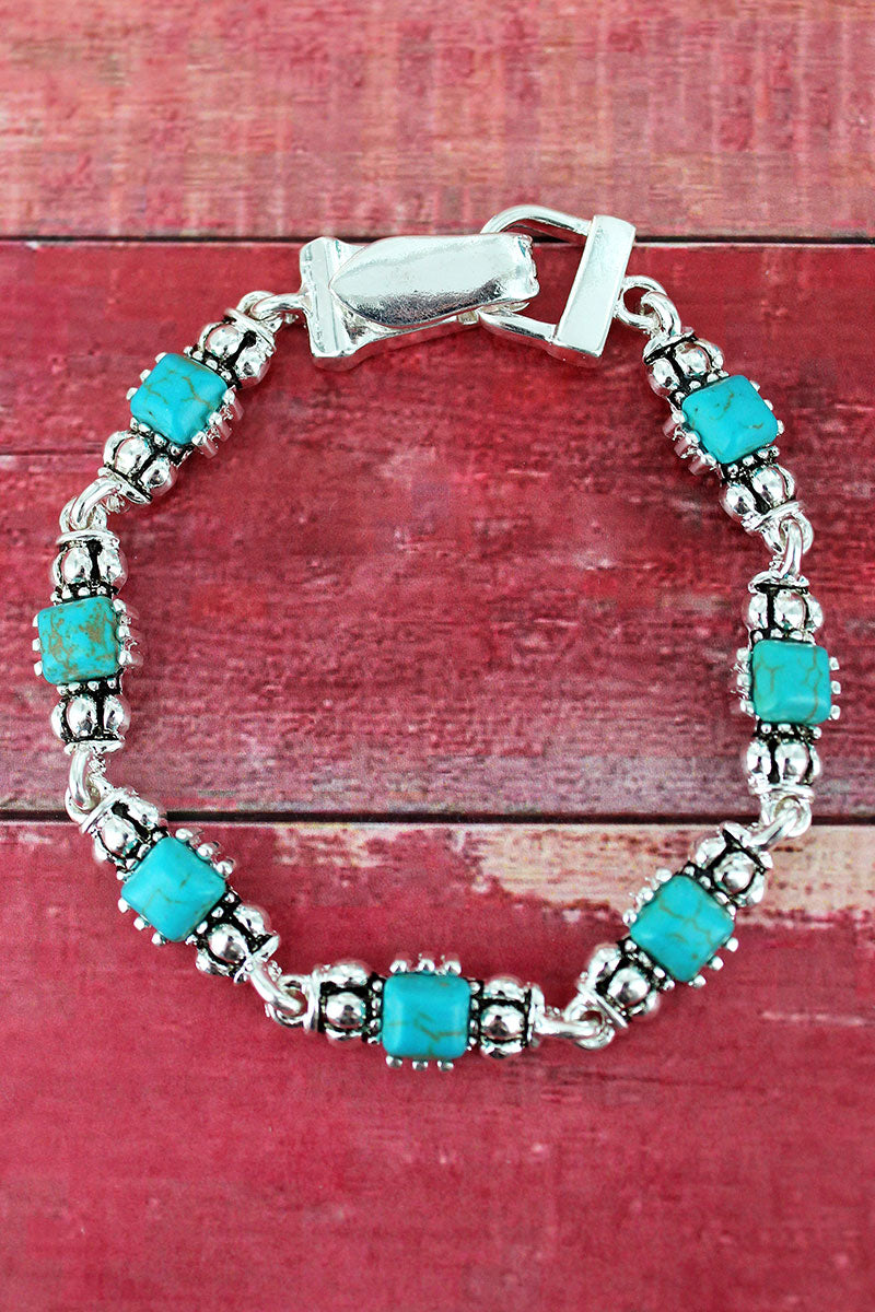 Square Turquoise Bead and Silvertone Magnetic Bracelet
