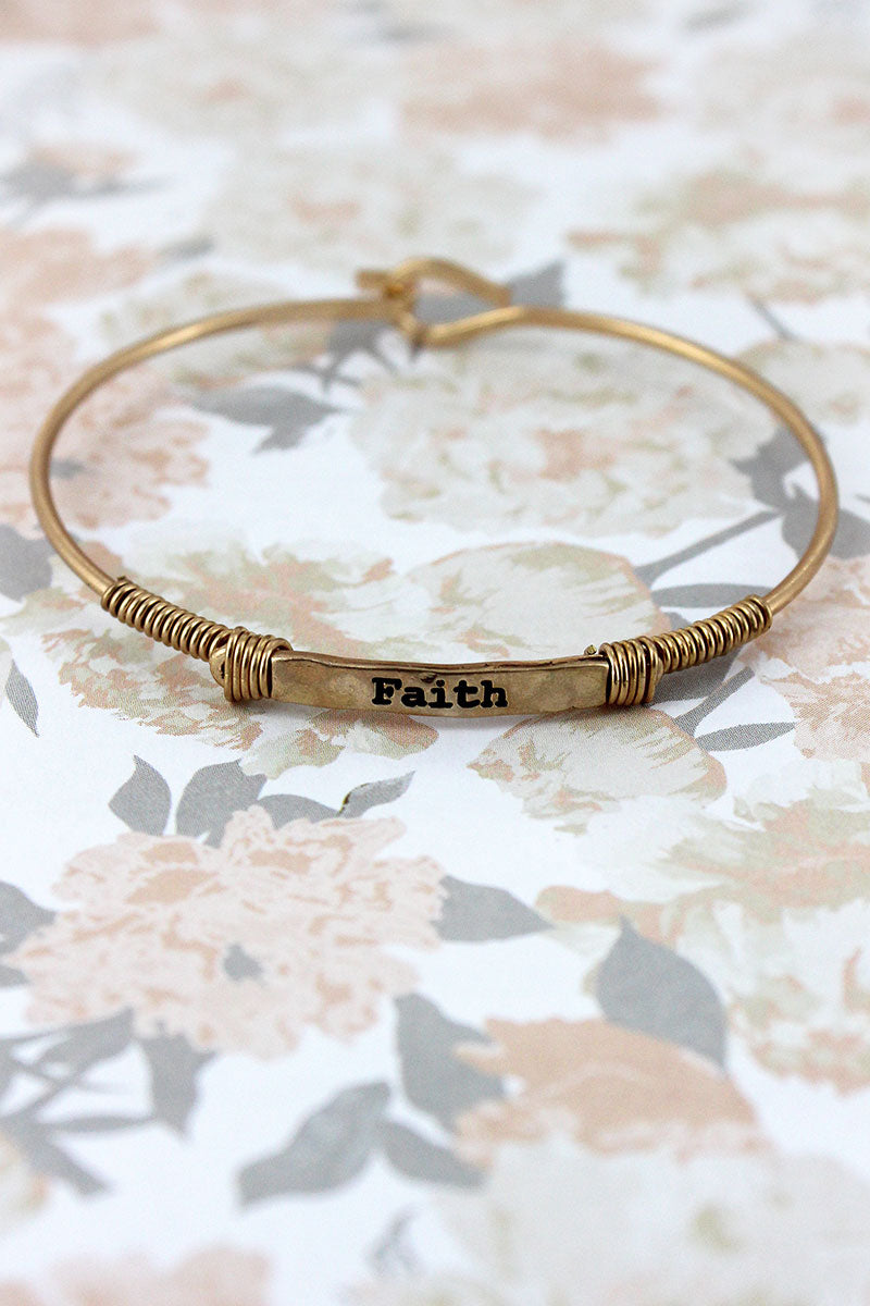 Worn Goldtone Wire-Wrapped 'Faith' Bar Bracelet