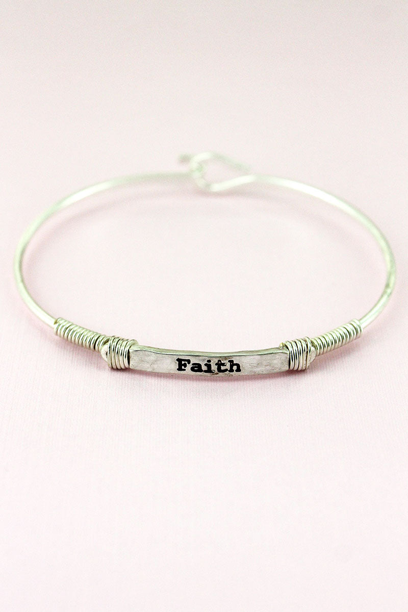 Worn Silvertone Wire-Wrapped 'Faith' Bar Bracelet